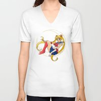sailor moon V-neck T-shirts featuring Sailor Moon by Brittany Ketcham