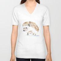 hedgehog V-neck T-shirts featuring Hedgehog by Susan Windsor