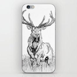 Deer in grass illustration / BW iPhone Skin