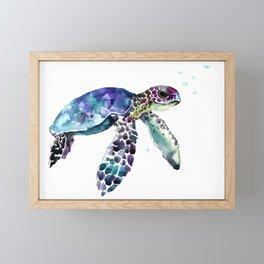 Sea Turtle, Baby Turtle animal artwork for children Framed Mini Art Print