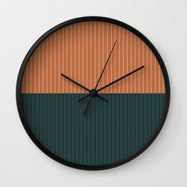 Color Block Lines XIX Orange & Green Wall Clock