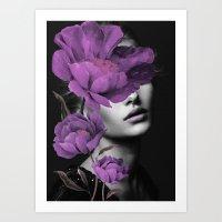 Woman With Purple Flowers Art Print
