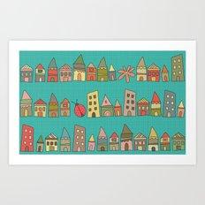 City {Housylands - teal} Art Print