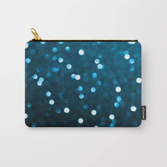 Cyan Blue Sparkly Bokeh Carry-All Pouch