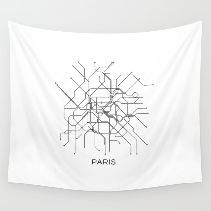 Black And White Subway Map Tapestry.Paris Metro Map Subway Map Paris Metro Graphic Design Black And White Canvas Metropolian Art Wall Tapestry By Printablelifestyle