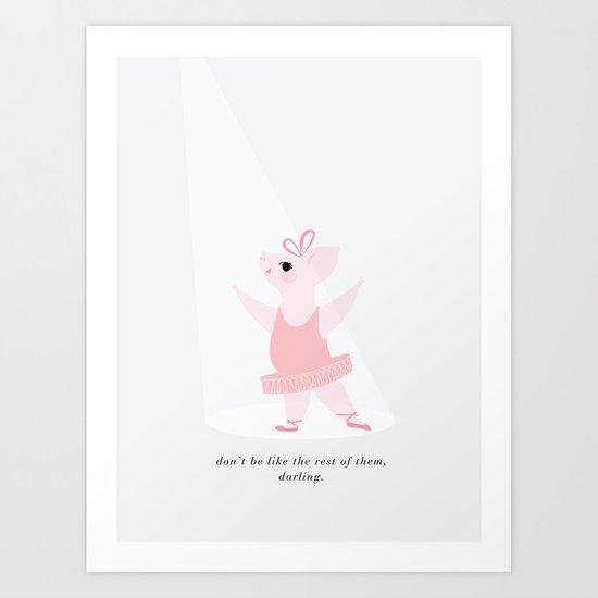 ballerina pig Art Print