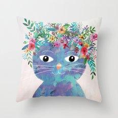 Flower cat II Throw Pillow