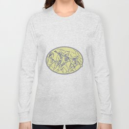 American Revolutionary Soldiers Marching Oval Mono Line Long Sleeve T-shirt