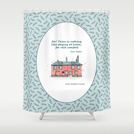 Jane Austen house and quote Shower Curtain