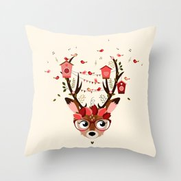 Biche et cabanes à oiseaux (rose) Throw Pillow