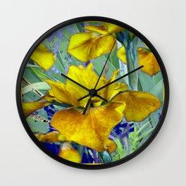Decorative Mustard Yellow Iris Garden Art Design Wall Clock