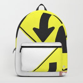"""Divided highway"" - 3d illustration of yellow roadsign isolated on white background Backpack"