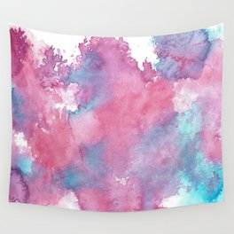 Pink, Purple and Blue Abstract Watercolour Wall Tapestry