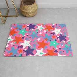 Fun ditsy print with constellations and twinkle lights Rug