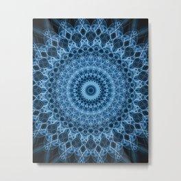Detailed blue mandala Metal Print