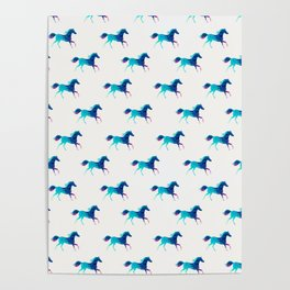 blue horse pattern Poster