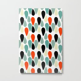 Mid Century Modern Abstract Droplets Shapes Pattern Metal Print