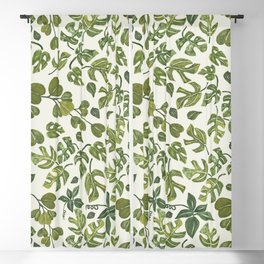 Watercolor green leaves pattern Blackout Curtain