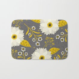 Cream and Grey Floral Collage Bath Mat
