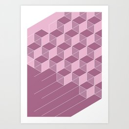 Cubed Expression – Pink / Purple Abstract Diamond Pattern Art Print