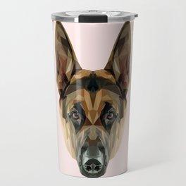 German Shepherd // Pastel Pink Travel Mug