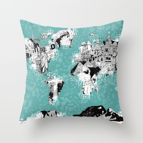 Throw Pillows With World Map : World map Throw Pillow by Bekim ART Society6