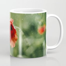 Red Poppy on Green background with bokeh Coffee Mug