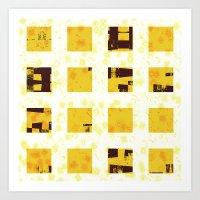 yellow pattern Art Prints featuring Yellow by SensualPatterns