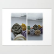 Paper Roses on a Frosty Day Art Print