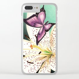 White Lily Clear iPhone Case