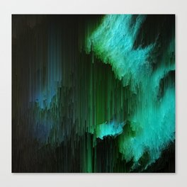 Aurora Borealis - Abstract Glitchy Pixel Art Canvas Print