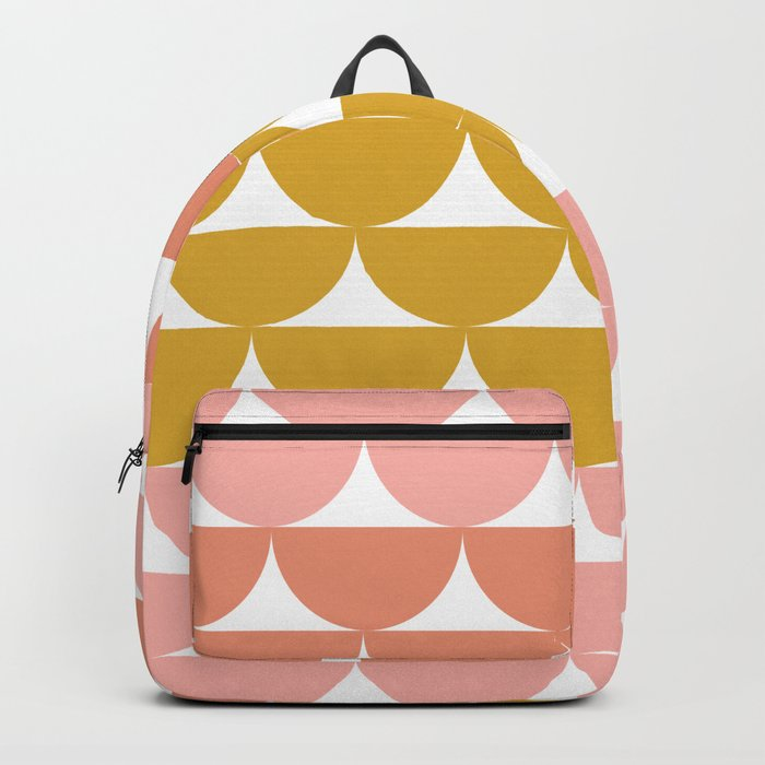 Pretty Geometric Bowls Pattern in Coral and Mustard Backpack