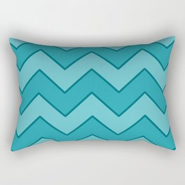Medium Zig-Zag Blue & Aquamarine with Teal Edges Rectangular Pillow