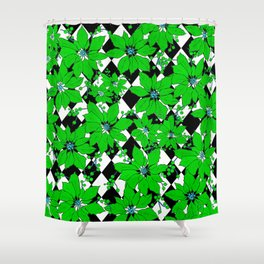 POINSETTIAS AND HARLEQUINS GREEN AND BLACK Shower Curtain