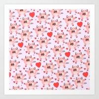 pigs Art Prints featuring pigs by elvia montemayor