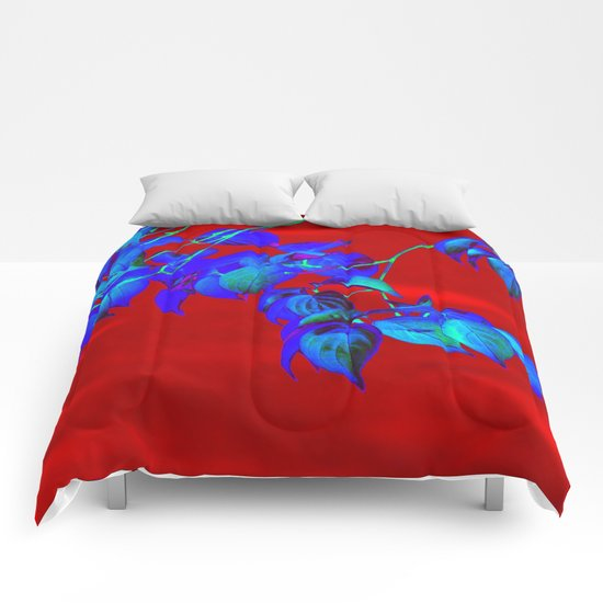 Red Sky And Blue Leaves Comforters