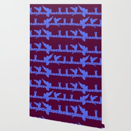 Purple Hummingbirds on Ultraviolet Line Wallpaper