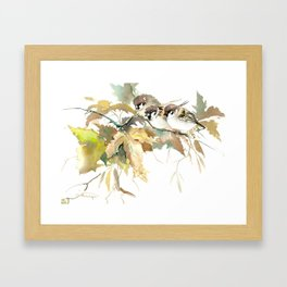Sparrows and Fall Tree, three birds, brown green fall colors Framed Art Print