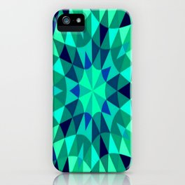 teal. blue green Mandala Retro Geometry iPhone Case
