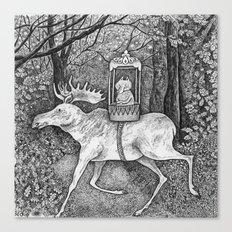 Fox riding moose Canvas Print