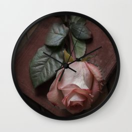 Pink rose and red old book Wall Clock