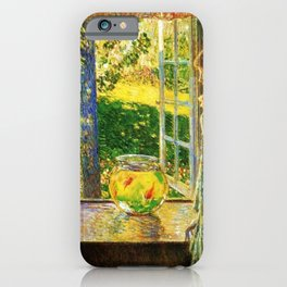 Classical Masterpiece 'The Goldfish Window' by Frederick Childe Hassam iPhone Case