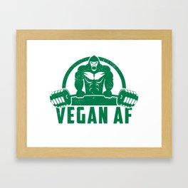 Vegan AF Muscle Gorilla - Funny Workout Quote Gift Framed Art Print