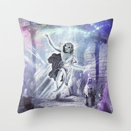 Alien Jesus Raves - Jerusalem Cross Raving Throw Pillow