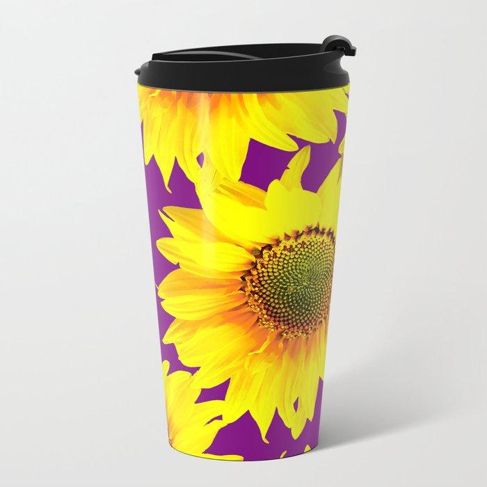Sunflowers on a purple background - summer mood - #Society6 #buyart Metal Travel Mug