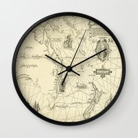 world maps Wall Clocks featuring Old Maps by tanduksapi