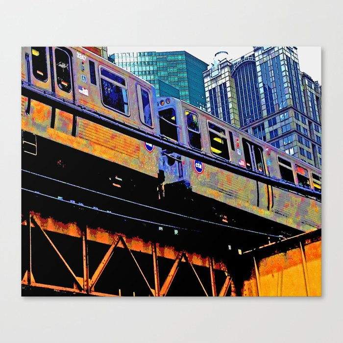 Chicago \'L\' in multi color: Chicago photography - Chicago Elevated train  Canvas Print by thecheekypixel