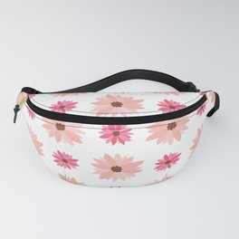 Natural Flowers Pattern-Pink Retro Flowers Wall Fanny Pack
