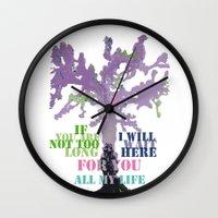 oscar wilde Wall Clocks featuring Oscar Wilde #3 I will wait here by bravo la fourmi