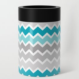 Turquoise Teal Blue Gray Chevron Can Cooler